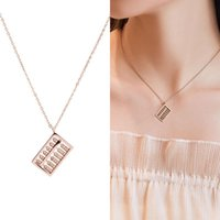 Pendant Necklaces 2021 Lucky Personality Abacus Clavicle Chain Titanium Steel Hypoallergenic Rose Gold Non-fading Necklace