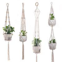 교수형 식물 수제 맥사기 식물 옷걸이 꽃 냄비 화분 행거 벽 장식 안뜰 정원 교수형 화분 매달려 바구니