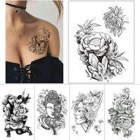 1 pièce encre noire autocollant à tatouage temporaire rose pivoine fleur tatouage étanche tatouage Bouddha guerrier bras de la cuisse corps tatouages