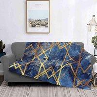 البطانيات البحرية حجر هندسي ستون فور سيزونز مريحة دافئة لينة رمي بطانية أزرق مجردة الفن