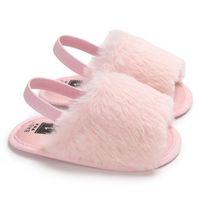 Первые ходунки C493 Baby Comfy Sandals Младенческие девушки мягкие подошвы обувь плюшевые скольжения сандалии летнее малыш принцесса нескользящая