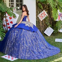 2021 Blue Sparkly Ball Gown Quinceanera Dresses 3D Flower Sweetheart Sequins Applique Sweet 15 16 Dress Party Wear