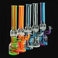 """shisha hookah water smoking pipe Double filter hookahs glass bong dab silicone hose joint height 16.9"""""""
