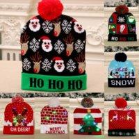 7 Stil LED Noel Örme Şapka 24 * 20 cm Çocuklar Anne Kış Sıcak Beanies Kardan Adam Geyik Santa Claus Tığ Caps X496