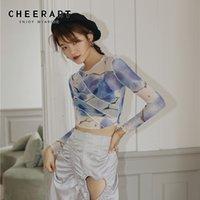 CheerArt Mesh Crop Top Langarm T-Shirt Frauen Gedruckt T-shirt Transparente Damen Dicke Top Patchwork Sommer Mode 210310