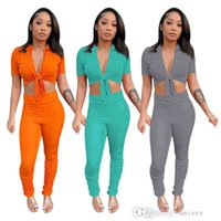 Women Long Pants Sports Tracksuits Fashion Multicolor Two Piece Suit Sexy Bandage Tops And Pleated Trousers Summer And Autumn Clothing 2021