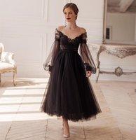 Gothic Design Black Wedding Dresses Ankle Length Short Bridal Gowns Lace Tulle Long Puff Sleeves Sheer Neck Open Backless Vintage Vestido de Nova