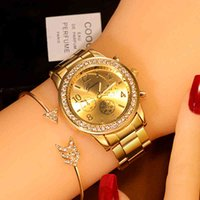 Designer Brand Brand Orologi da donna Es Ginevra Classico Strass Donne Donne Ladies Moda orologio oro Reloj Mujer Montre Femme