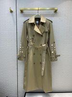 المرأة الخندق معاطف 2021 الخريف طويلة الأكمام التلبيب الرقبة جاكيتات مصمم العلامة التجارية نفس نمط قميص 0814-9
