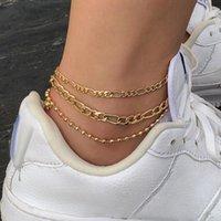 Anklets TAUAM Hip Hop Chunk Cuban Chain Anklet For Women 3Pcs Set Gold Color Foot Bracelet Jewelry Barefoot Sandal