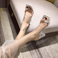 Sandals Transparent High Heels Women Square Toe Summer Shoes Woman Clear Pumps Wedding Jelly Buty Damskie Slippers
