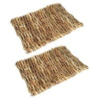 Small Animal Supplies 2 Pack Chew Toy Beds Natural Handwoven Grass Mats For Hamsters,Rabbits,Parrot Guinea Pig And Ferret 40X28cm