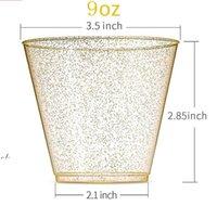 9oz 270ml 일회용 두꺼운 물 컵 골드 파우더 와인 유리 위스키 플라스틱 주스 디저트 무스 컵 LLE10560