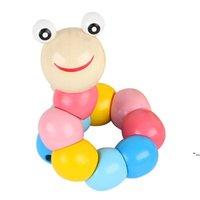 أطفال مضحك الحشرات اللعب الخشبية التعليمية متنوعة التواء unchworm لعب الخشب الذكاء الطفل diy كتلة لعبة DHD5398