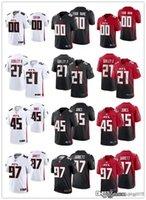 "Männer Frauen Jugend Atlanta ""Falcons"" 45 Deiion Jones 97 Grady Jarrett 11 Julio Jones 21 Todd Gurley II Gewohnheit Schwarz Rot Fußball Trikots"