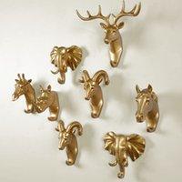 Home Decor accessories resin animal head figurine craft wall art hooks for hanging decorative key holder rack coat clothe hanger