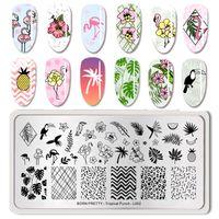 Рожденные красивые летние фрукты ногтей арт-типографский шаблон тропический рисунок прямоугольник изображения плэшка для штамповки польский необходимый