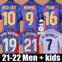 Maillot de foot FC Barcelone MEMPHIS BARCA Barcelona 21 22 PEDRI MEMPHIS F.DE JONG LUUK ANSU FATI KUN AGUERO O. DEMBELE Eric kit maillots de football hommes + enfants