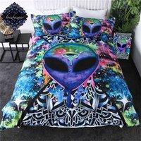 Trippy Alien tarafından Brizbazaar Bedding Set Suluboya Büyücülük Nevresim Üçüncü Göz Yatağı 3 adet Mandala Saucerman Yatak Örtüleri 210727