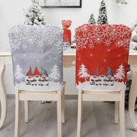 Christmas Decorations 30# Non-woven Chair Set Cartoon Old Man Snowman Party Stool Decoration Ornament Back Covers Home
