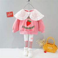 Clothing Sets HYLKIDHUOSE Baby Girls 2021 Autumn Children Lace T Shirt Stripe Pants Infant Clothes Outfit Kids Casual Sportswear