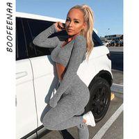 Два кусок платье Boofeenaa Сексуальные женщины трексуит милый 2 набор потех топ и брюки свитер осень зимние наряды C34ae17