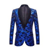 Men's Suits & Blazers 2021 Sequins Velvet Series Men Royal Blue Black Floral Shiny Wedding Groom Prom Singer Slim Suit Jacket