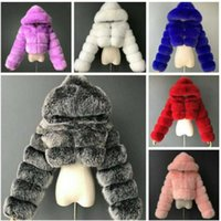 Женщины меховые куртки дизайнерские короткими с капюшоном лисица пальто мода имитация пушистый топ с длинным рукавом сшивание пальто