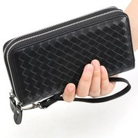 Wallets Men And Women Wrist Wallet Soft Weave Sheep Leather Double Zipper Multi Compartments Long Hand Take Bag