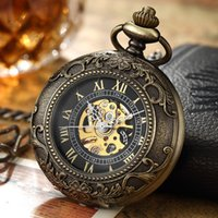 Vintage Mechanical Pocket Fob Necklace Watch Steampunk Men Bronze Skeleton Antique Pocket & Fob Watches Chain Clock 170 Q2