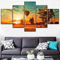 Un conjunto de 5 piezas Steampunk Casa y paisaje Cartel Moderno Obras de arte Muro Decoración de la casa Decoración Cartel de alta calidad Lienzo Imprimir pintura