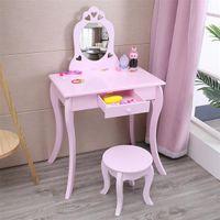 Schlafzimmermöbel Kreative Nordische FCH-Kinder-Lila-Dressing-Tischspiegel Einzelner Zug gebogener Fußkleber