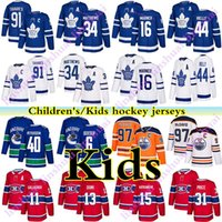 토론토 메이플 leafs 몬트리올 Canadiens 밴쿠버 Canucks Edmonton oilers 97 Connor McDavid 16 Mitchell Marner 91 Tavares Kids Hockey Jerseys