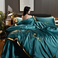 Bedding Sets Summer Smooth Washed Silk 4-piece Set Luxury Queen King Size Duvet Cover Solid Embroidery Bed Sheets Pilowcase And