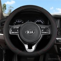 Steering Wheel Covers PU Leather Car Cover For Kia Ceed Sportage Picanto Cerato Seltos Soul Stonic Stinger Rio 3 4 5 Auto Accessories