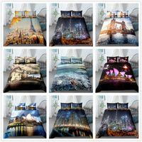 Bedding Sets 3D City View Style Bed Set HD Digital Scenery Print Guilt Cover Duvet +Pillowcase 2 3pcs Clothes US AU EU Size