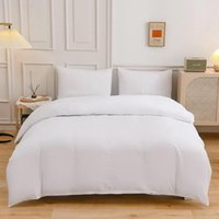 Bedding Sets Double Solid Color WHITE Home Textile Flat Sheet Set Duvet Cover Pillowcase King Queen Twin Single Size Sheets