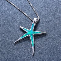 Pendant Necklaces Green White Blue Opal Stone Necklace Female Cute Starfish Trendy Silver Color Chain Wedding For Women