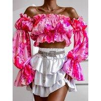 Women's Blouses & Shirts Autumn Women Sexy Slash Neck Elegant Print Long Sleeve Pullover Tops Lady Blusa 2021 Chic Fashion Puff Super Short