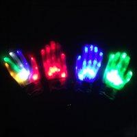 Fête Christmas Cadeau LED Coloré Rainbow Gants rougeoyant Nouveauté Main Bones Étape Magic Finger Show Dance fluorescente Clignotant OWD9161