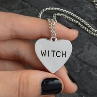 Witch Heart Engraved Necklace Gothic Witchcraft Halloween Goth Jewelry Women Girl Necklaces Fashion Gifts