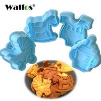 Формы для выпечки Walfos Кухня Biscuit Cookie Cutter Cuttry 4 Piece Baby Type Пластиковая плесень Плунжер 3D штамп умирает помадка торт украшать