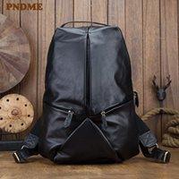 Backpack PNDME Casual Simple Top Layer Cowhide Black Men's Fashion Designer Handmade Genuine Leather Bagpack Laptop Bookbag 2021