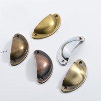 Retro gabinete Perillas Manijas Metal Cajón Cajón Gabinete Puerta Manija Muñán Mando Handware Armario Antiguo Brass Brass SHELL SHANDA NHA7818
