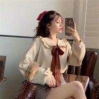 Women's Blouses & Shirts spring and autumn bow white shirt wood jacket ear doll neck design sense long sleeve student VE1X