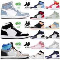 Top Quality Jumpman 1 1s Mens Womens High Basketball Shoes Hyper Royal Twist Prototype Court Purple Seafoam Obsidian Light Fusion Red Taxi Sports Sneakers Trainers