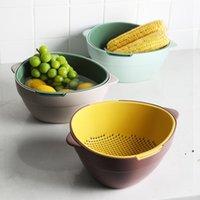 Creatieve keuken dubbele afvoer plastic mand multifunctionele grote opbergdoos tweekleurige filtermand voor noedels groenten fruit fwe8225