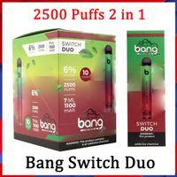 Bang XXL 스위치 듀오 일회용 vapes 펜 장치 포드 전자 담배 키트 2500 퍼프 7ml 1100mAh 6 % 오일 포드 vs loy