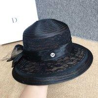 01 French Hepburn Lace Elegante Temperamento Celebrity Malla de malla Sombrero de paja Verano Granjas grandes Sombrillas