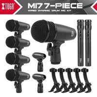 XTUGA MI7P 7 pièces Dynamic Drum Dynamic Mic kit (métal entier) - BUN BASS, TOM / SNARE CYMBALS Microphone Set - Utilisation pour les tambours 210610